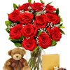One Dozen Long Stem Roses With Chocolate and Teddy Bear