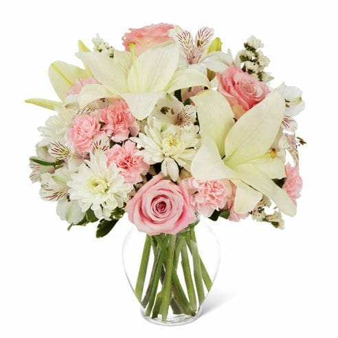 Pink Roses and White Lilys